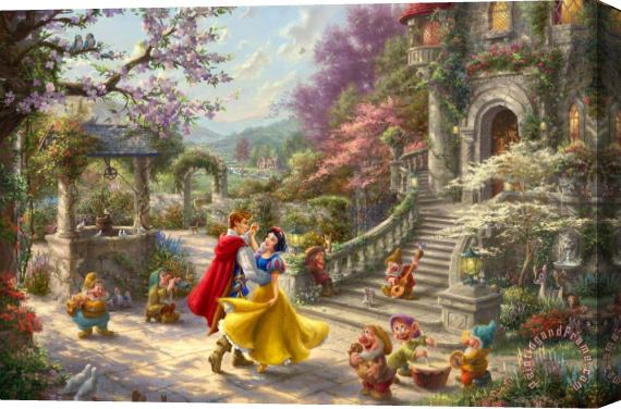 Thomas Kinkade Snowwhite Dancing in The Sunlight Stretched Canvas Print / Canvas Art