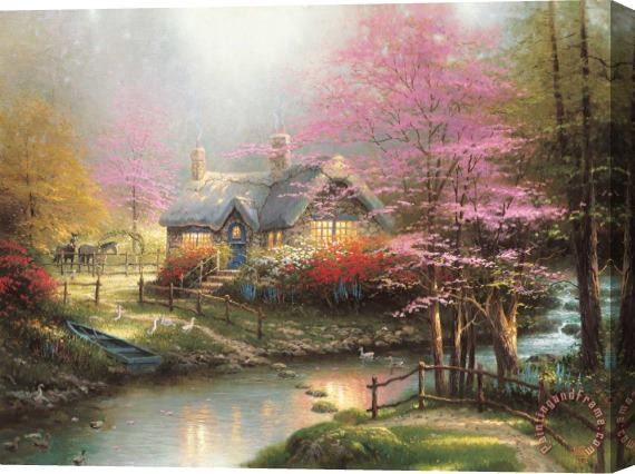 Thomas Kinkade Stepping Stone Cottage Stretched Canvas Print / Canvas Art