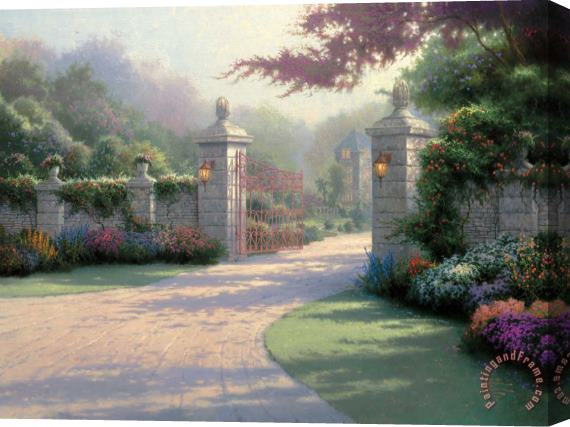 Thomas Kinkade Summer Gate Stretched Canvas Print / Canvas Art