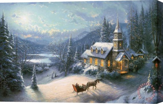 Thomas Kinkade Sunday Evening Sleigh Ride Stretched Canvas Print / Canvas Art