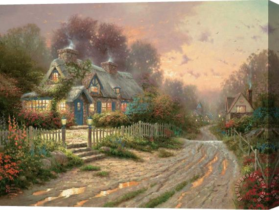 Thomas Kinkade Teacup Cottage Stretched Canvas Painting / Canvas Art