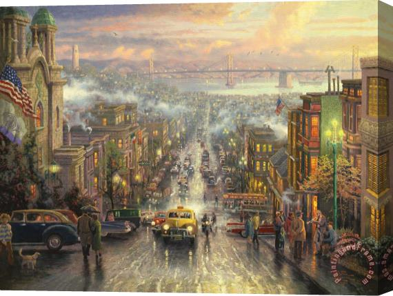 Thomas Kinkade The Heart of San Francisco Stretched Canvas Print / Canvas Art
