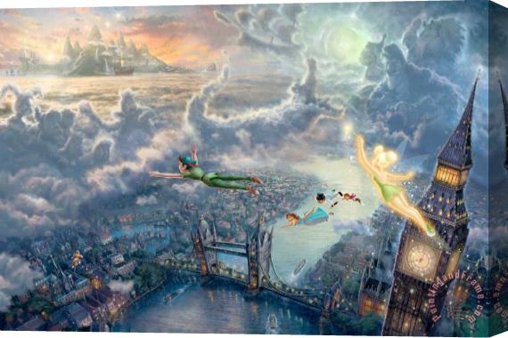 Thomas Kinkade Tinker Bell And Peter Pan Fly to Neverland Stretched Canvas Print / Canvas Art