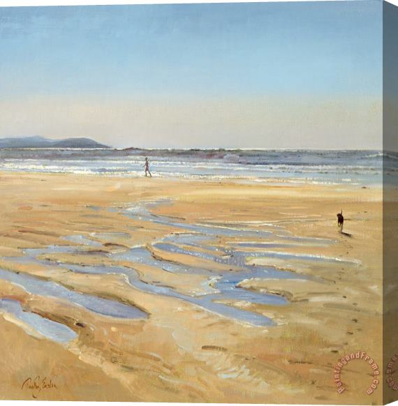 Timothy Easton Beach Strollers Stretched Canvas Print / Canvas Art