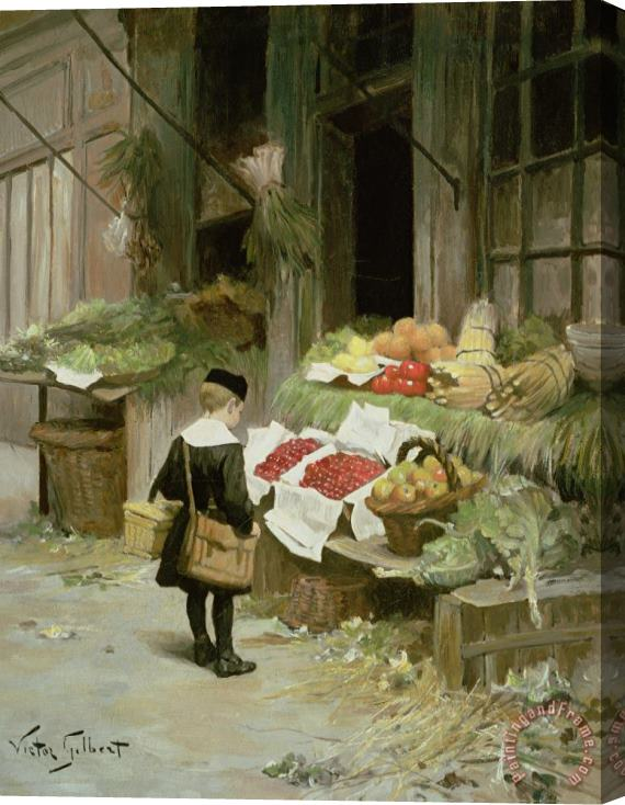 Victor Gabriel Gilbert Little Boy At The Market Stretched Canvas Print / Canvas Art