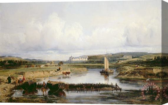 Victor-Marie-Felix Danvin An Extensive River Landscape with a View of the Chateau d'Amboise Stretched Canvas Print / Canvas Art