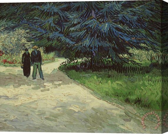 Vincent Van Gogh Couple in the Park Stretched Canvas Print / Canvas Art