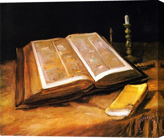 Vincent van Gogh Still Life with Bible Stretched Canvas Print / Canvas Art