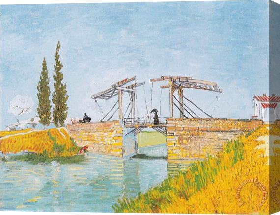 Vincent van Gogh The Bridge of Langlois at Arles with a Lady with Umbrella Stretched Canvas Print / Canvas Art