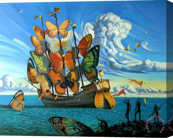 Vladimir Kush Departure of The Winged Ship Stretched Canvas Print / Canvas Art