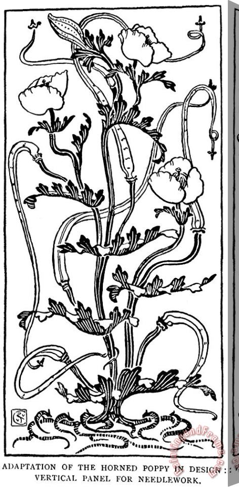 Walter Crane Horned Poppy In Design Line Drawing Stretched Canvas Painting / Canvas Art