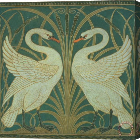 Walter Crane Wallpaper Design for panel of Swan Rush and Iris Stretched Canvas Print / Canvas Art