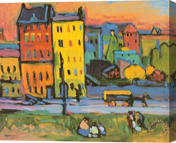 Wassily Kandinsky Houses in Munich 1908 Stretched Canvas Print / Canvas Art