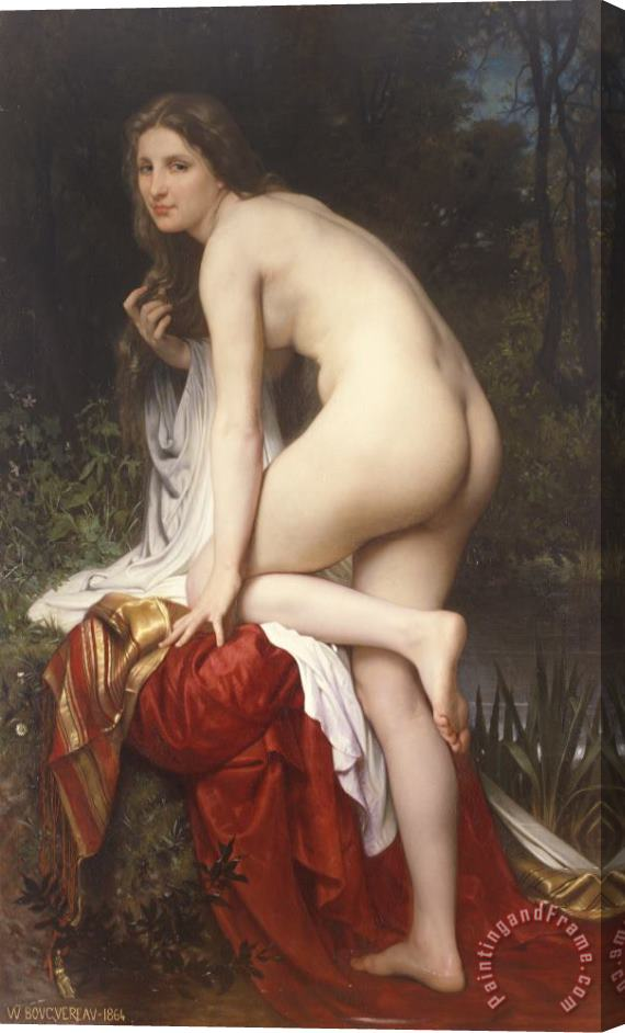 William Adolphe Bouguereau Woman Bathing Stretched Canvas Print / Canvas Art