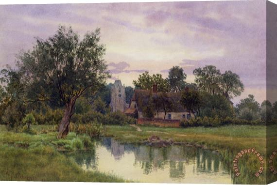 William Fraser Garden Evening at Hemingford Grey Church in Huntingdonshire Stretched Canvas Print / Canvas Art