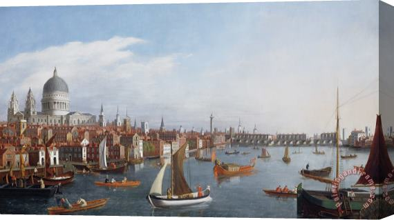 William James View of the River Thames with St Paul's and Old London Bridge Stretched Canvas Print / Canvas Art