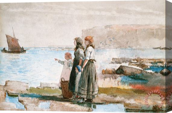 Winslow Homer Waiting for the return of the Fishing Fleets Stretched Canvas Print / Canvas Art