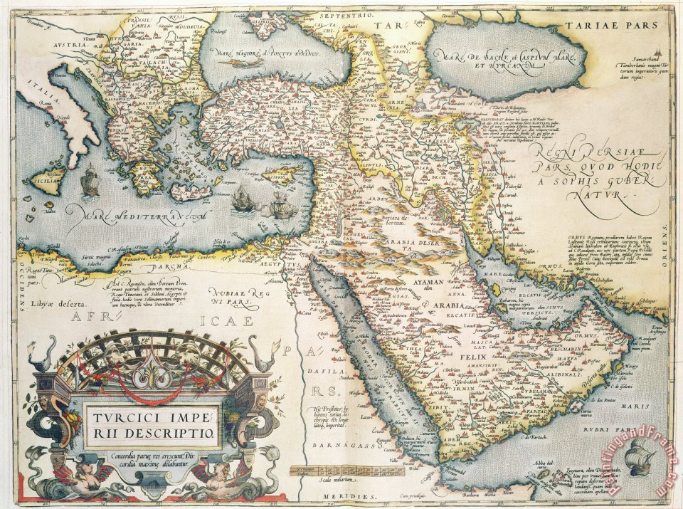 image about Printable Map of Middle East named Abraham Ortelius Map of the Center East against the 16th Century portray - Map of the Heart East towards the 16th Century print for sale