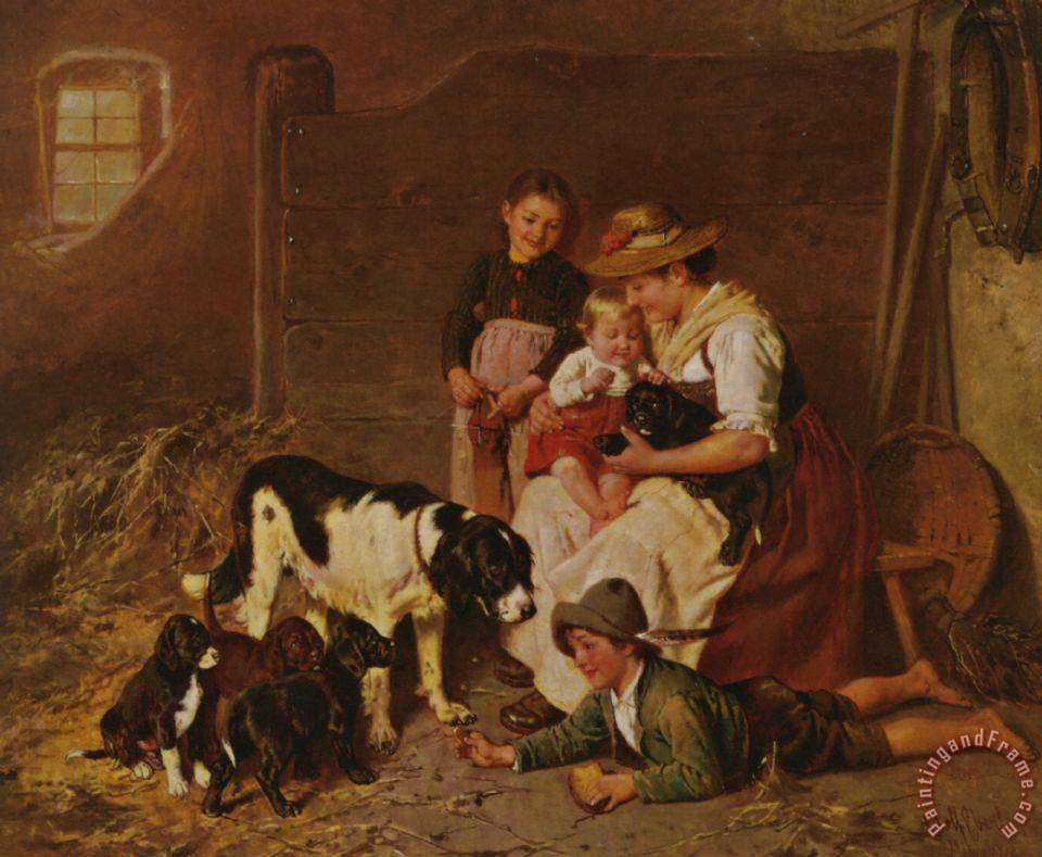 Adolf Eberle New Puppies Painting New Puppies Print For Sale