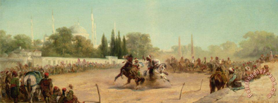 Adolf Schreyer A Horse Race in The Hippodrome Art Print