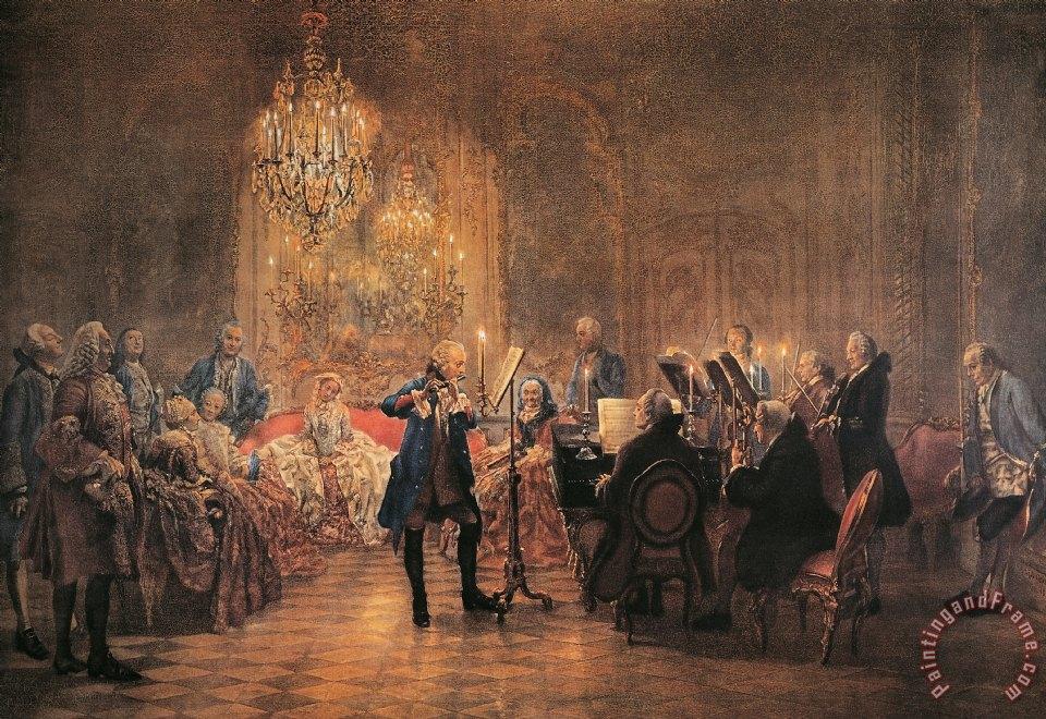 Adolf Von Menzel Depicting A Flute Concert Of Frederick