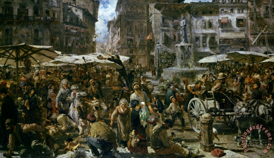 The Market of Verona painting - Adolph Friedrich Erdmann von Menzel The Market of Verona Art Print