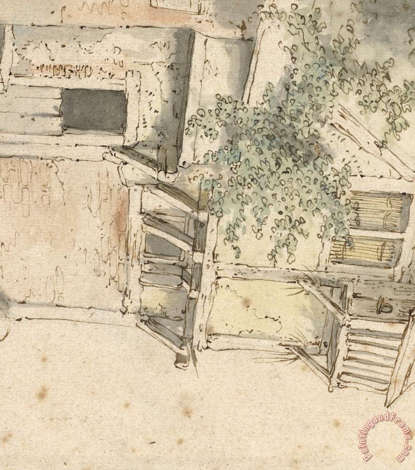 Adriaen van ostade gevel van een begroeid huis painting gevel van een begroeid huis print for sale - Huis gevel ...
