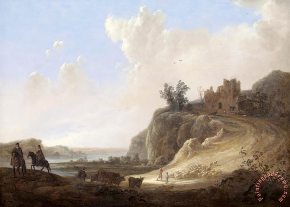 Mountainous Landscape with The Ruins of a Castle painting - Aelbert Cuyp Mountainous Landscape with The Ruins of a Castle Art Print