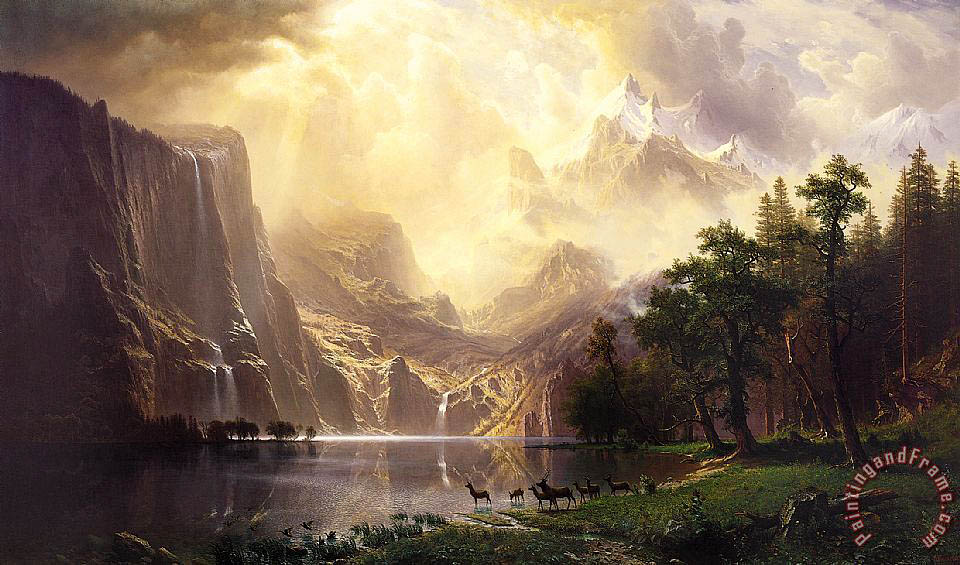Among The Sierra Nevada Mountains California painting - Albert Bierstadt Among The Sierra Nevada Mountains California Art Print