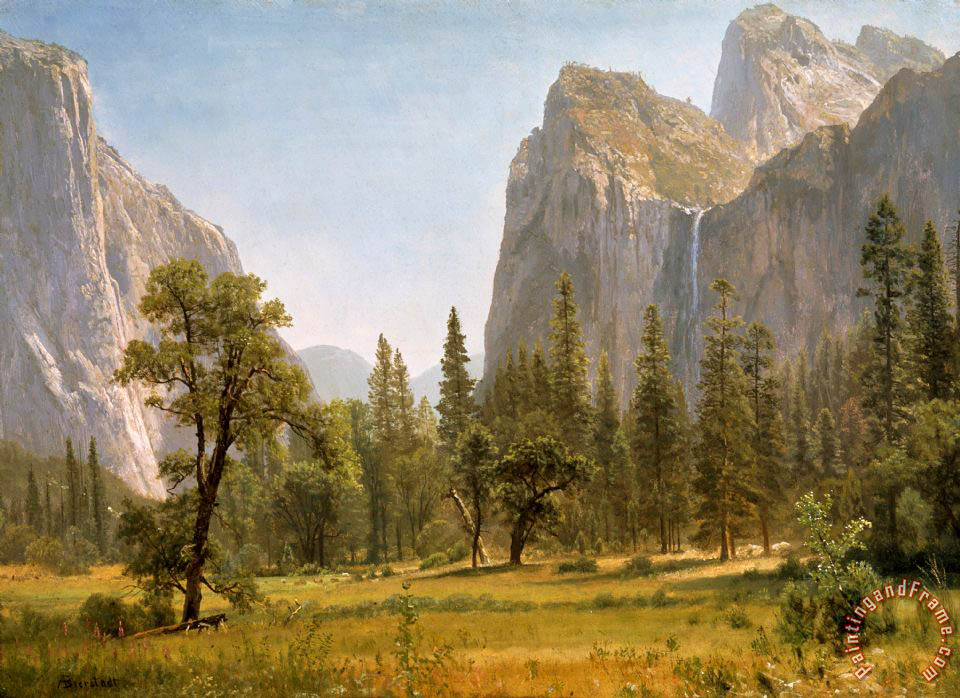 Bridal Veil Falls Yosemite Valley California painting - Albert Bierstadt Bridal Veil Falls Yosemite Valley California Art Print