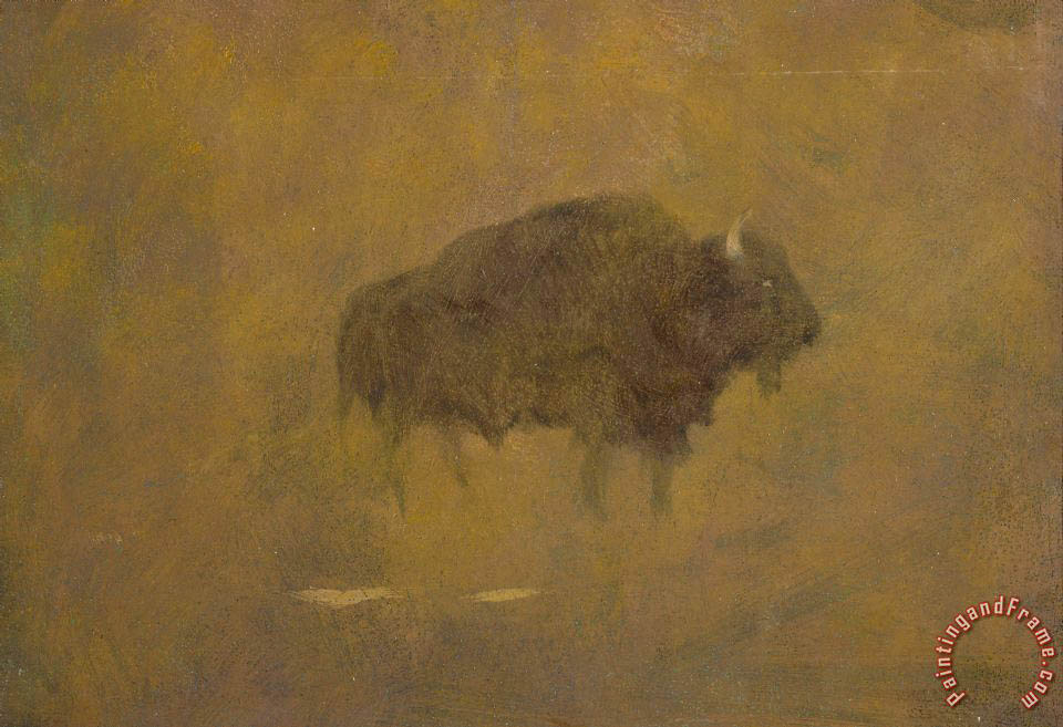 Albert Bierstadt Buffalo in a Sandstorm Art Painting