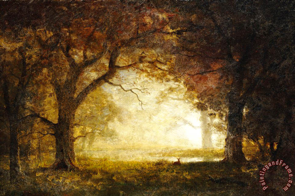 Forest Sunrise painting - Albert Bierstadt Forest Sunrise Art Print