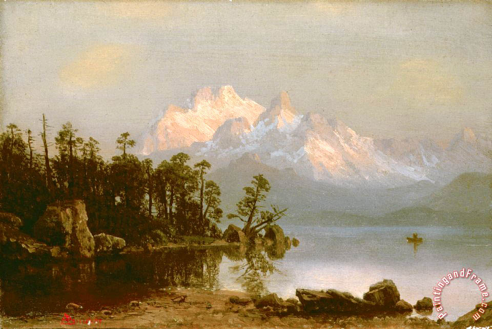 Mountain Canoeing painting - Albert Bierstadt Mountain Canoeing Art Print