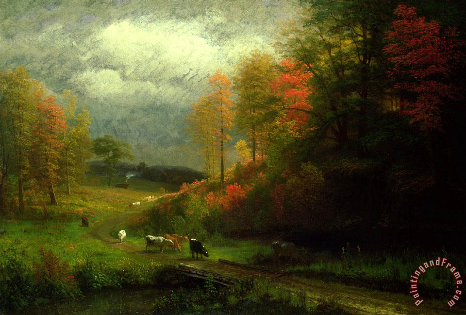 Rainy Day in Autumn painting - Albert Bierstadt Rainy Day in Autumn Art Print