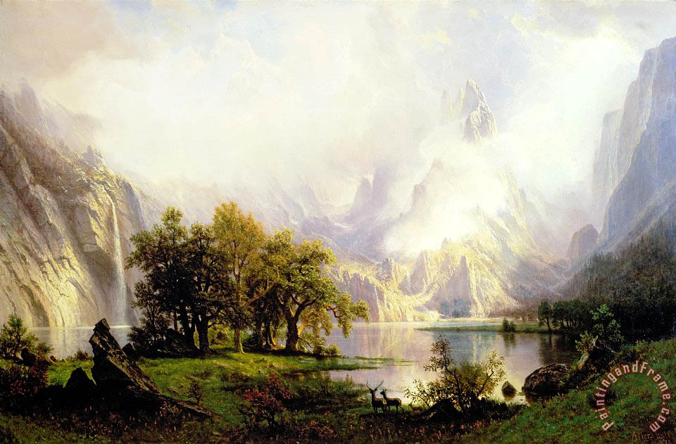 Rocky Mountain Landscape painting - Albert Bierstadt Rocky Mountain  Landscape Art Print - Albert Bierstadt Rocky Mountain Landscape Painting - Rocky Mountain