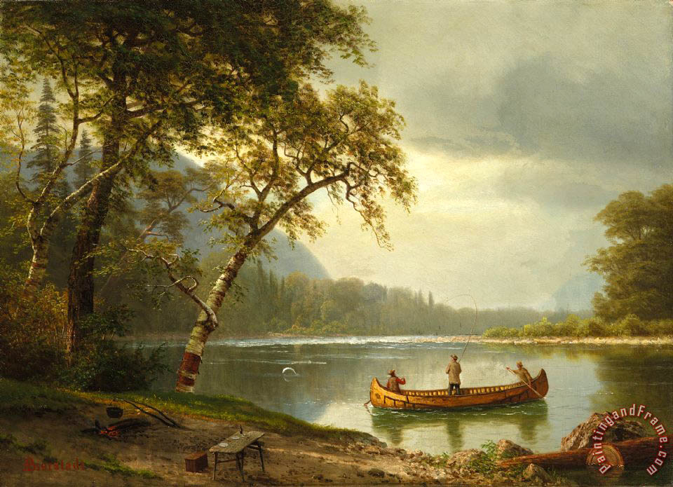 Salmon fishing on the Caspapediac River painting - Albert Bierstadt Salmon fishing on the Caspapediac River Art Print