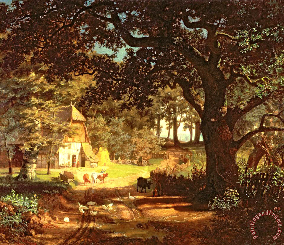The House in the Woods painting - Albert Bierstadt The House in the Woods Art Print