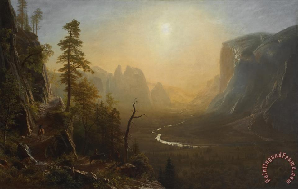 Albert Bierstadt Yosemite Valley, Glacier Point Trail Art Painting