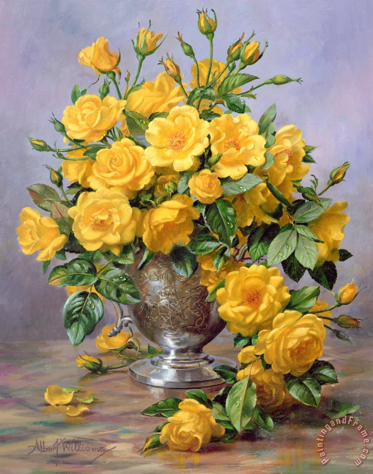 Albert Williams Bright Smile Roses In A Silver Vase Painting