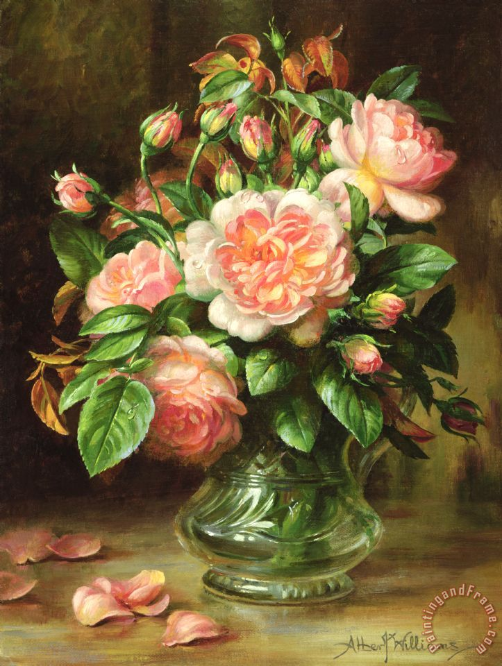 English Elegance Roses In A Glass painting - Albert Williams English Elegance Roses In A Glass Art Print