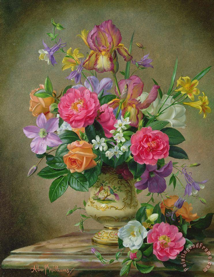 Albert Williams Peonies And Irises In A Ceramic Vase