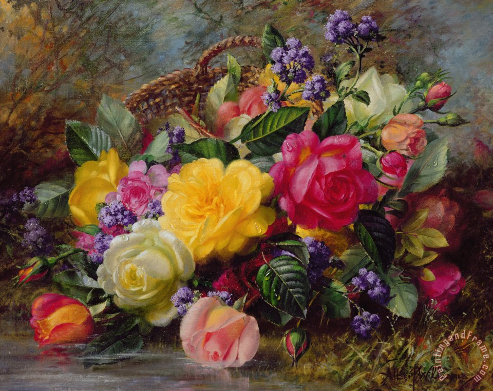 Albert Williams Roses by a Pond on a Grassy Bank Art Print