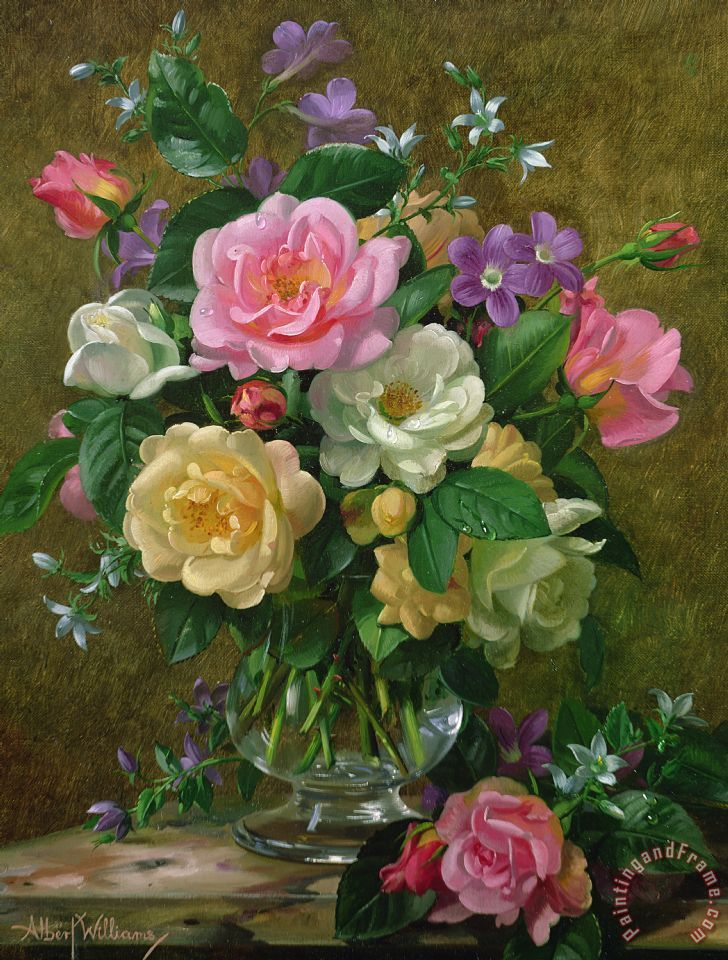 Albert Williams Roses In A Glass Vase Painting Roses In A Glass