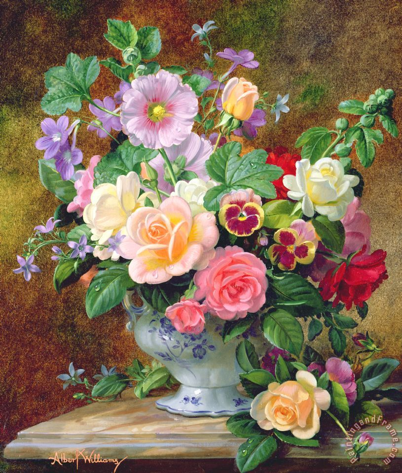 Roses Pansies And Other Flowers In A Vase painting - Albert Williams Roses Pansies And Other Flowers In A Vase Art Print