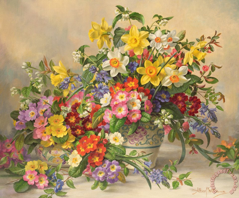 Albert Williams Spring Flowers and Poole Pottery Art Print