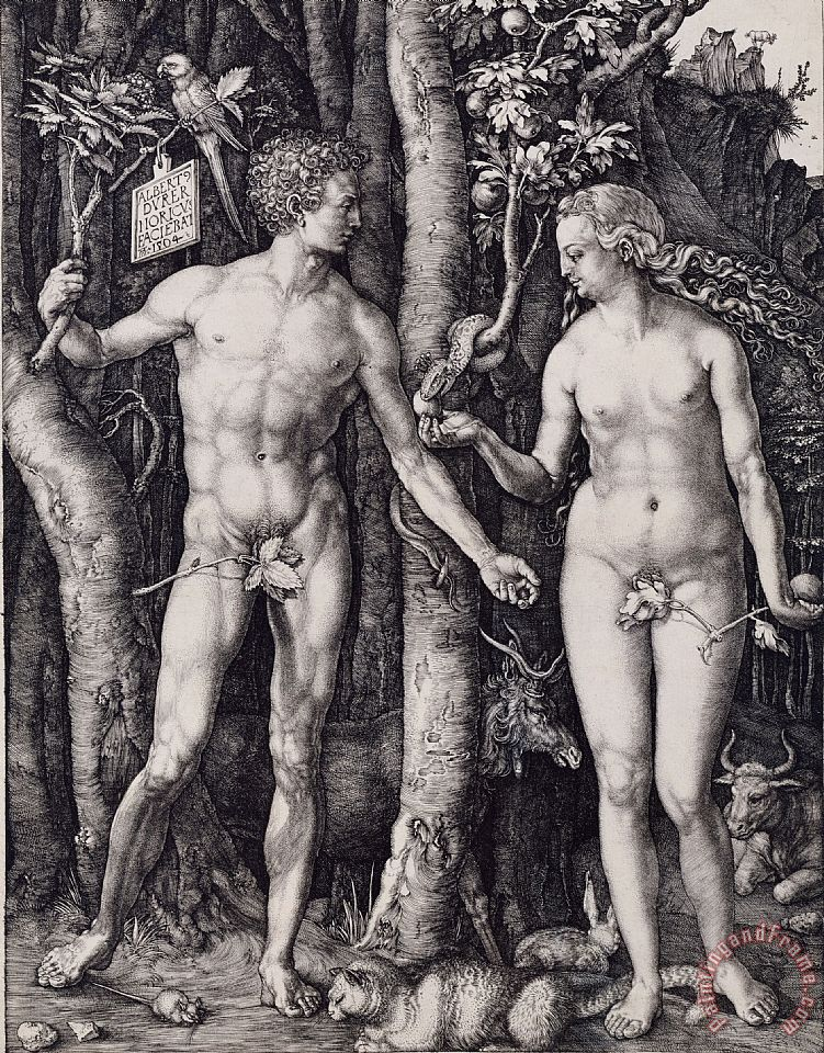 Adam And Eve Engraving painting - Albrecht Durer Adam And Eve Engraving Art Print