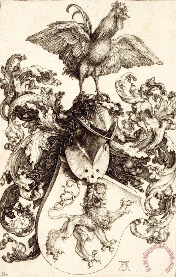 Coat of Arms with a Lion And a Cock painting - Albrecht Durer Coat of Arms with a Lion And a Cock Art Print