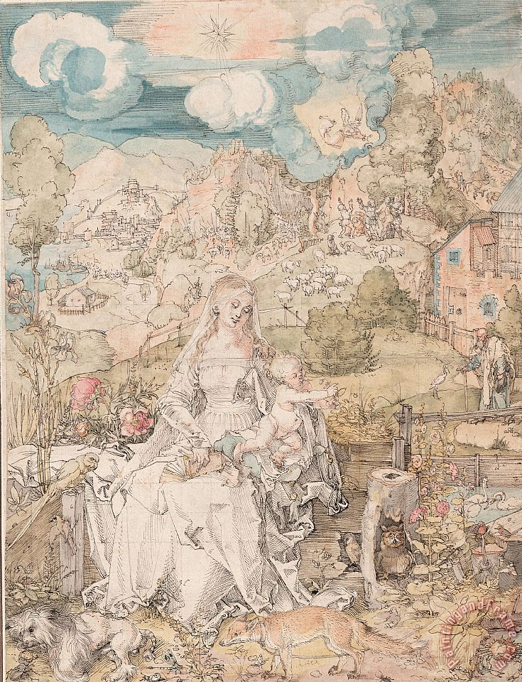 Durer Drawing Mary And Animals painting - Albrecht Durer Durer Drawing Mary And Animals Art Print