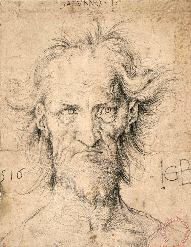 Head of a Bearded Old Man ( Saturn ), 1516 painting - Albrecht Durer Head of a Bearded Old Man ( Saturn ), 1516 Art Print
