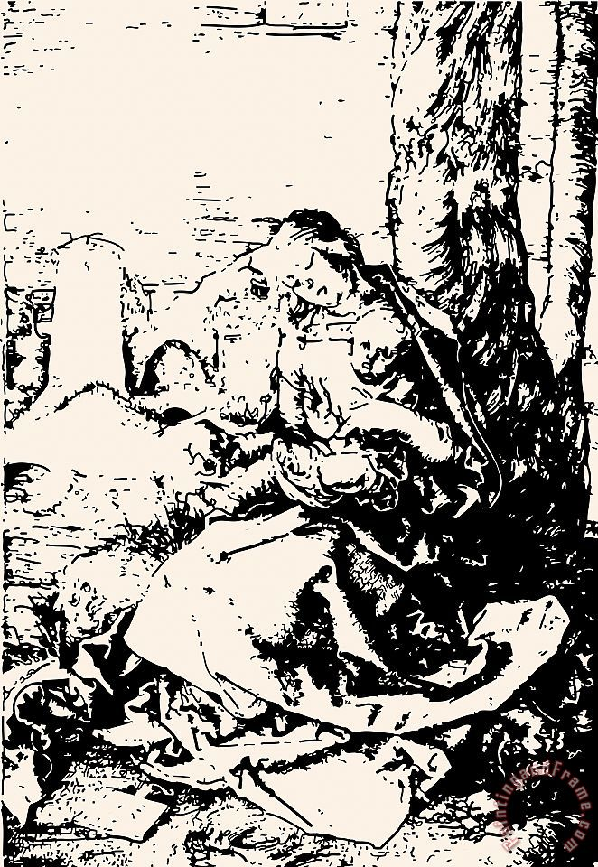 Madonna With The Pear Engraving painting - Albrecht Durer Madonna With The Pear Engraving Art Print